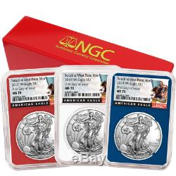 2019 (W) $1 American Silver Eagle 3 pc. Set NGC MS70 FDI Black Label Red White B