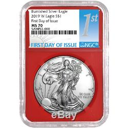 2019-W Burnished $1 American Silver Eagle 3pc. Set NGC MS70 FDI First Label Red
