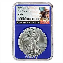 2020 $1 American Silver Eagle 3pc. Set NGC MS70 FDI Black Label Red White Blue
