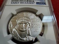 2020 $100 American Platinum Eagle 1 oz. NGC MS70 Blue ER Label