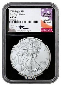 2020 American Silver Eagle First Day of Issue NGC MS70 John Mercanti Signature
