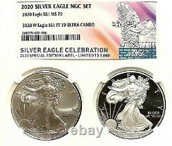 2020 American Silver Eagle Ngc Ms-70 And 2020-w Silver Eagle Proof Pf-70 Set