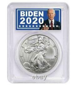 2020 American Silver Eagle PCGS MS70 in Joe Biden For President Label