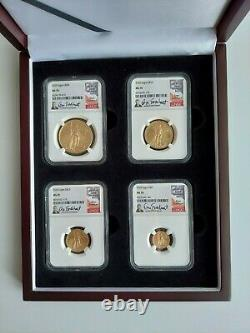 2020 Gold American Eagle 4 Coin Set NGC Graded MS 70 Signed by Don Everhart