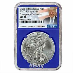 2020 (P) $1 American Silver Eagle 3 pc. Set NGC MS70 Emergency Production Trump L