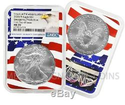 2020 (P) $1 American Silver Eagle NGC MS70 Emergency Issue Flagcore FDOI