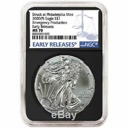 2020 (P) $1 American Silver Eagle NGC MS70 Emergency Production Blue ER Label Re