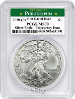 2020 (P) $1 American Silver Eagle PCGS MS70 Emergency Issue FDOI STRUCK AT Phila