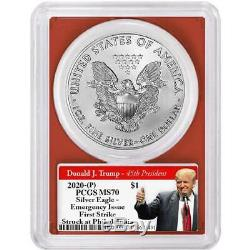 2020 (P) $1 American Silver Eagle PCGS MS70 Emergency Production FS Trump 2020 L