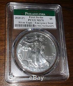 2020 (P) $1 American Silver Eagle PCGS MS70 Emergency Production Philadelphia FS