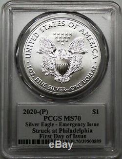2020 (P) $1 Silver Eagle Philadelphia Emergency Issue PCGS MS70 FDOI Mercanti
