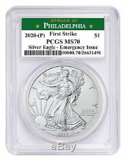 2020(P) 1 oz Silver American Eagle Struck Philadelphia PCGS MS70 FS Green Delay