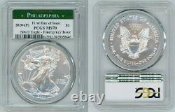2020 P Silver American Eagle Emergency Pcgs Ms70 First Day Of Issue Philadelphia