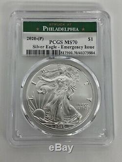 2020 (P) VERY RARE American Silver Eagle PCGS MS70 Emergency Philadelphia