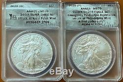 2020 P & W American Silver Eagle Emergency Issue ANACS MS-70 Dollar 2 Coin Set