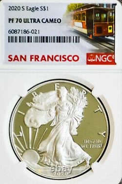 2020 San Francisco Set Pf70 S And Ms70(s) Silver American Eagle Trolly Labels
