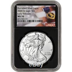 2020 W American Silver Eagle Burnished NGC MS70 Early Release Purple Heart Black