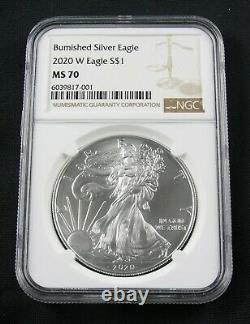 2020 W Burnished American Silver Eagle Ngc Ms 70