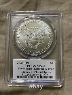 2020 WithS/P PROOF AMERICAN SILVER EAGLE PCGS PR70 MS70 FLAG CLEVELAND SET RARE