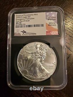 2020-p S$1 1oz American Silver Eagle Ngc Ms70 Fdi Mercanti Signed Philadelphia