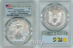2020 (p) Silver American Eagle $1 Emergency Pcgs Ms70 First Day Of Issue Flag