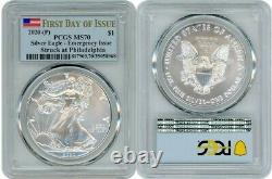2020 (p) Silver American Eagle $1 Emergency Pcgs Ms70 First Day Of Issue Flag M1