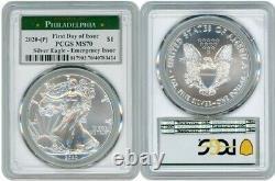 2020 (p) Silver American Eagle $1 Emergency Pcgs Ms70 Philadelphia Fdoi White M1