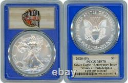 2020 (p) Silver American Eagle Emergency Pcgs Ms70 First Day Of Issue Blue