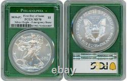 2020 (p) Silver American Eagle Emergency Pcgs Ms70 Philadelphia Fdoi Green R1