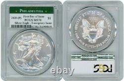 2020 (p) Silver American Eagle Emergency Pcgs Ms70 Philadelphia Fdoi R1