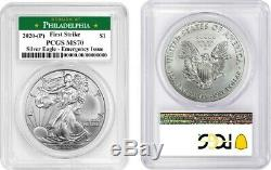 2020 (p) Silver American Eagle Emergency Pcgs Ms70 Philadelphia Firststrike 1596
