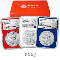2021 $1 American Silver Eagle 3pc. Set NGC MS70 ALS ER Label Red White Blue