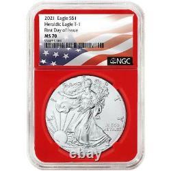 2021 $1 American Silver Eagle 3pc. Set NGC MS70 FDI Flag Label Red White Blue