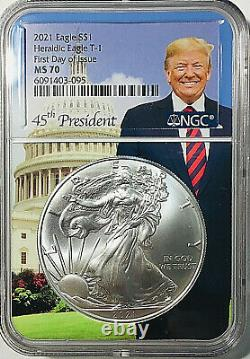 2021 $1 American Silver Eagle T-1 Heraldic Ngc Ms 70 First Day Of Issue Trump