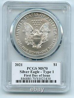 2021 $1 American Silver Eagle Type 1 PCGS MS70 FDOI Fred Haise