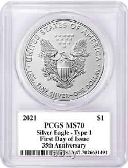 2021 $1 Heraldic Silver Eagle Type 1 PCGS MS70 First Day of Issue Mercanti