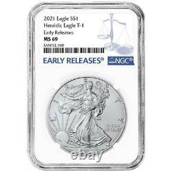2021 $1 Type 1 American Silver Eagle 3pc. Set NGC MS69 Blue ER Label Red White B