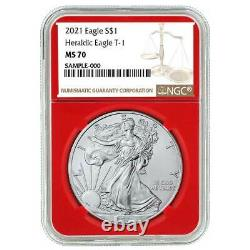 2021 $1 Type 1 American Silver Eagle 3pc. Set NGC MS70 Brown Label Red White Blu