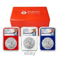 2021 $1 Type 2 American Silver Eagle 3 pc Set NGC MS70 ER Trump Label Red White