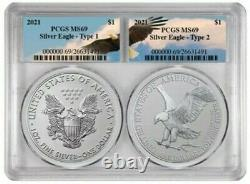 2021 2 x 1 Oz Silver AMERICAN EAGLE PCGS MS69 Type 1 N Type 2 BU Coin