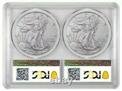 2021 2 x 1 Oz Silver AMERICAN EAGLE PCGS MS70 Type 1 N Type 2 BU Coin