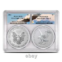 2021 American Eagle Silver 2-Coin Set PCGS MS70 Eagle Label, Types 1 & 2