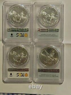 2021 American Silver Eagle 4 Coin Set MS70 W-S FS-W Type-2 FS Philadelphia-FDOI
