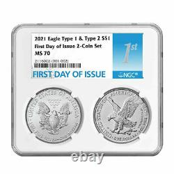 2021 American Silver Eagle Type 1 and 2 Set NGC MS70 First Day of Issue