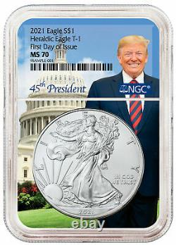 2021 Heraldic Type 1 NGC MS 70 American Silver Eagle FDOI in Trump Core