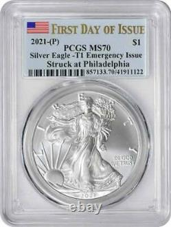 2021-(P) $1 American Silver Eagle Emergency Issue Type 1 MS70 FDOI PCGS