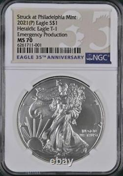 2021 (P) $1 American Silver Eagle NGC MS70 Emergency Production