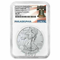 2021 (P) $1 American Silver Eagle NGC MS70 Emergency Production Liberty Bell