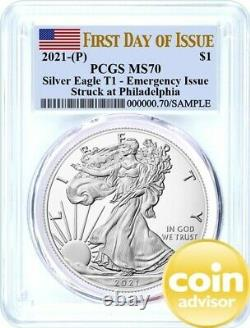 2021 (P) $1 Silver Eagle T1 Struck at Philadelphia PCGS MS70 First Day of Issue