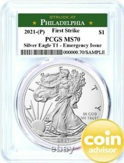 2021 (P) $1 Silver Eagle T1 Struck at Philadelphia PCGS MS70 First Strike
